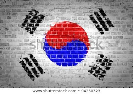 Bandeira Coréia do Sul pintado projeto fundo arte Foto stock © colematt