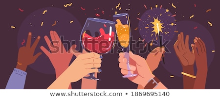 party crowd clinking glasses with champagne stock photo © kzenon
