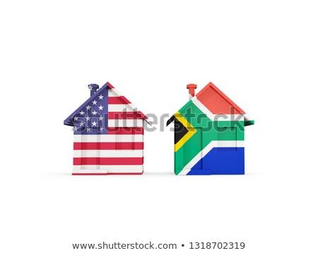 Kettő házak zászlók Egyesült Államok Dél-Afrika izolált Stock fotó © MikhailMishchenko