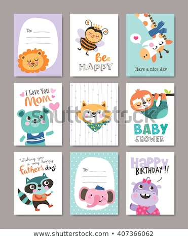 mothers day fathers day cards with cute bee vector set stock photo © beaubelle
