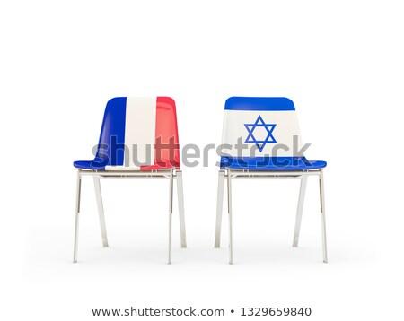 Dwa krzesła flagi Francja Izrael odizolowany Zdjęcia stock © MikhailMishchenko
