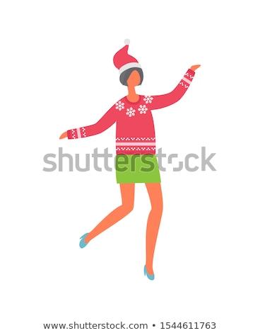 Femme vert jupe rouge chandail flocons de neige Photo stock © robuart
