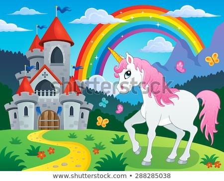 felice · cielo · illustrazione · cavallo · sfondo · divertimento - foto d'archivio © clairev