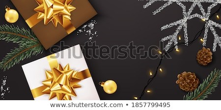 Gold Gift boxes with lights garland Vector realistic. Product placement mock up. Design packaging 3d Stock photo © frimufilms