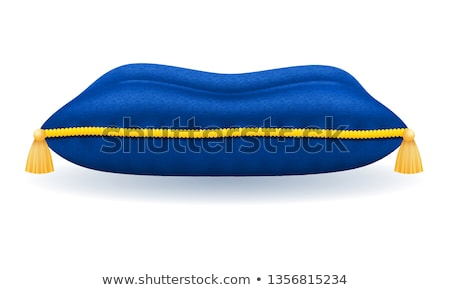 blue velvet pillow with gold rope and tassels vector illustratio Stock photo © konturvid