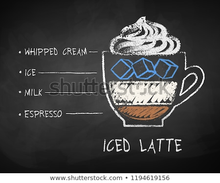 Chalk drawn sketch of Iced Latte coffee recipe Stock photo © Sonya_illustrations