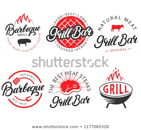 cor · vintage · churrasco · emblema · grelha · restaurante - foto stock © netkov1