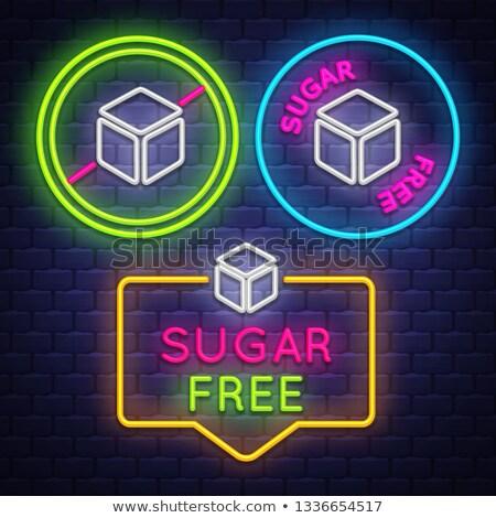Sugar Free badge collection . Diabet sign. Neon sign Stock photo © balasoiu