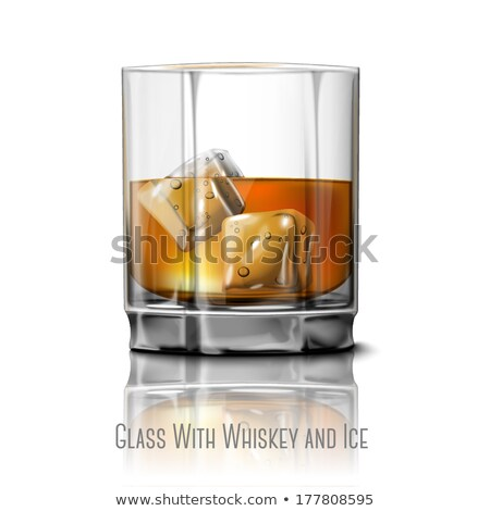 Stockfoto: Realistic Glass With Bourbon And Ice Cubes Vector