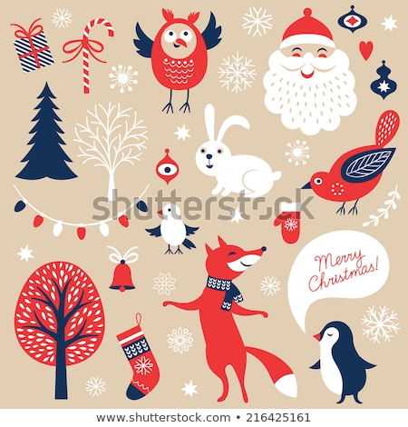 penguin with knitted socks merry christmas card stock photo © robuart