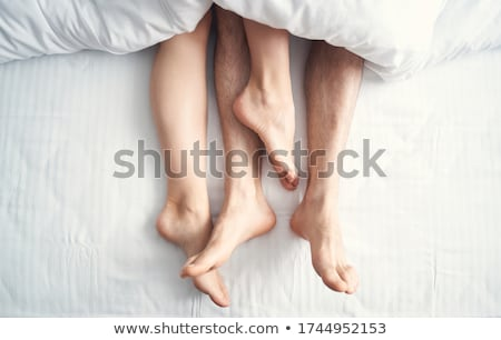 Közelkép párok mezítláb fehér pléd nő Stock fotó © AndreyPopov