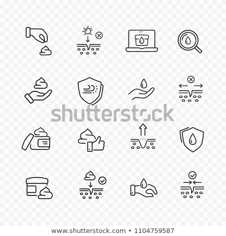 hands and drop moisturizer vector thin line icon stock photo © pikepicture