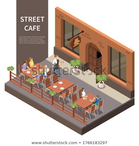 Stadt Kaffeehaus Fassade Kellner Besucher Stock foto © robuart