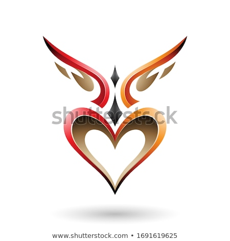 Red and Orange Bird Like Winged Heart with a Shadow Vector Illus Stock photo © cidepix