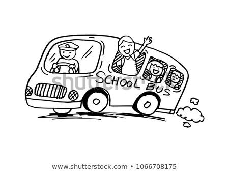 Schoolbus vector grappig cartoon illustraties Stockfoto © frimufilms