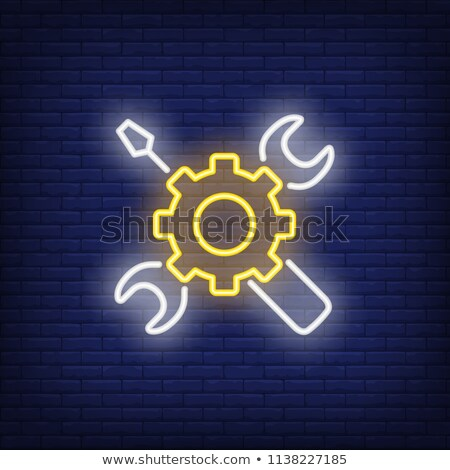Viselet franciakulcs neonreklám számítógép promóció üzlet Stock fotó © Anna_leni