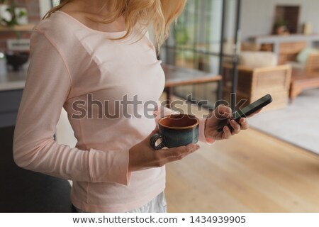 Mid section of woman using mobile phone in kitchen at home Stock photo © wavebreak_media