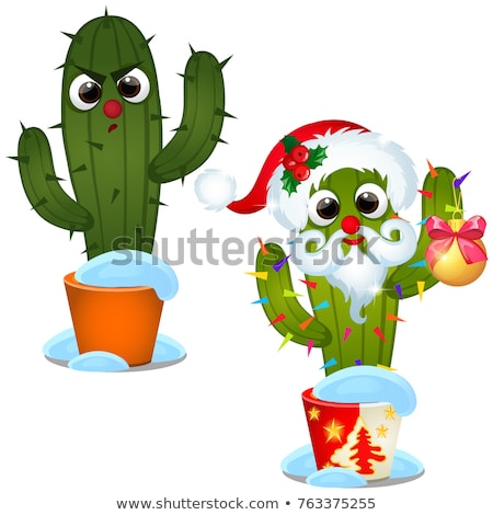 Set angry cactus and decorated with Christmas baubles isolated on a white background. Sketch of fest Stock photo © Lady-Luck
