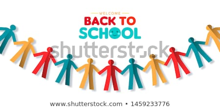 Back to school card of papercut children garland Stock photo © cienpies