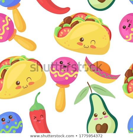 Cute seamless pattern with cartoon Chili peppers Stock photo © Natalia_1947