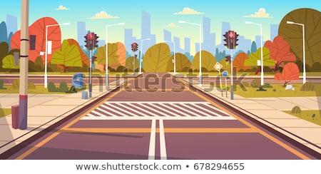 azul · coche · sedán · urbanas · carretera · paisaje - foto stock © robuart