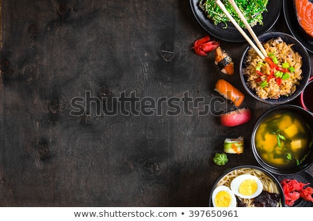 Miso soup, japanese food on the wooden background Stock photo © joannawnuk