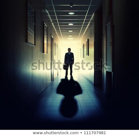 Silhouet zakenman deuropening schaduw lopen helpen Stockfoto © nomadsoul1