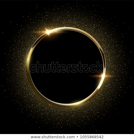 Vector black and gold abstract round luxury frame. Sparkling sequins on black background. Premium Stock photo © Iaroslava