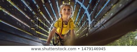 Weinig jongen touw park actief ontspanning Stockfoto © galitskaya