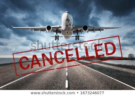 Repülés repülőgép stop felirat ikon vírus Stock fotó © -TAlex-
