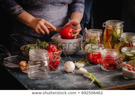 Stockfoto: Augurken · salade · witte · sap · peper