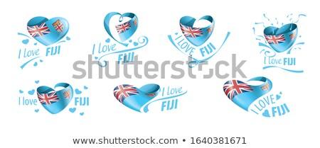 Bandiera Fiji cuore amore Foto d'archivio © butenkow