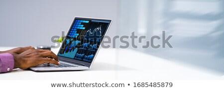 Analityka analityk pracy danych monitor Zdjęcia stock © AndreyPopov