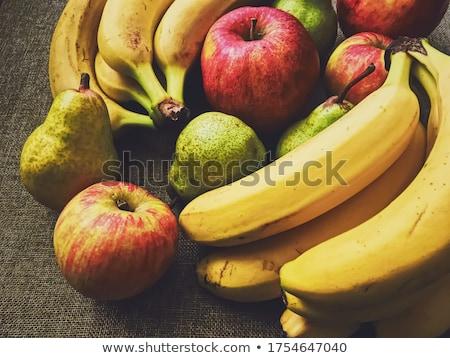 Organikus almák körték banán rusztikus vászon Stock fotó © Anneleven