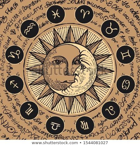 Manuscrit zodiac star signe grunge orange Photo stock © cidepix