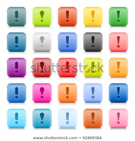 3D turuncu düğme ünlem işareti beyaz Internet Stok fotoğraf © dariusl