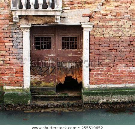 レンガの壁 洪水 古い 水 テクスチャ 風景 ストックフォト © Witthaya