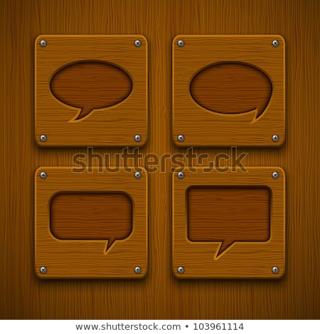 speech bubble collection wood plank grain  Stock photo © adrian_n