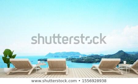 Stock photo: White armchair on natur blue background