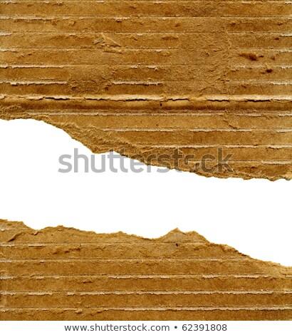 Rasgado papel de embrulho marrom cartão camada Foto stock © lightkeeper
