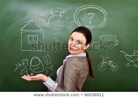 Closeup portrait of young woman thinking of her plans using gree Stock photo © HASLOO