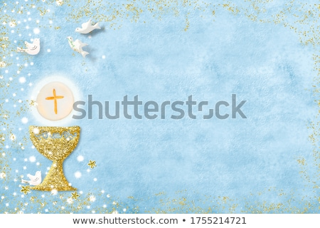 Stock photo: calyx parchment background for first communion boy