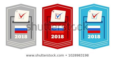 Ayarlamak rus başkanlık seçim rozetler mavi Stok fotoğraf © AnnaVolkova