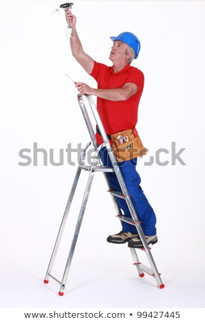 elettricista · luce · soffitto · costruzione · uomini · blu - foto d'archivio © photography33