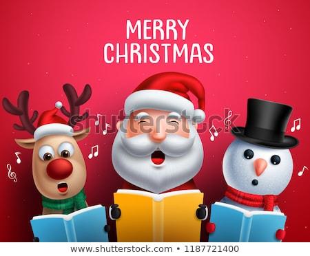 Snowman Carolers Singing Christmas Songs Illustration Stock photo © davidgn