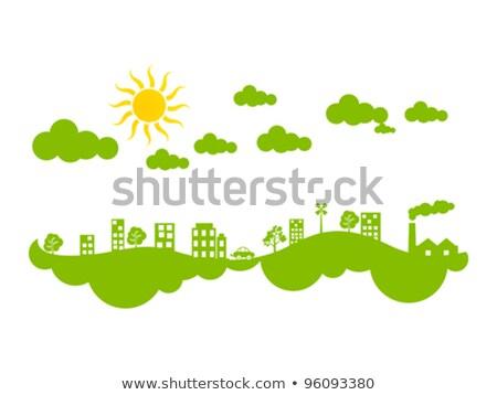 Streszczenie twórczej zielone eco miasta klimat Zdjęcia stock © pathakdesigner
