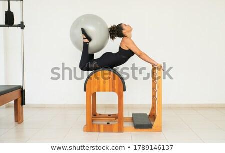 Aerobik pilates nők láb jóga golyók Stock fotó © lunamarina