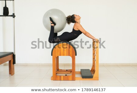 Stock photo: Aerobics pilates women feet  with yoga balls