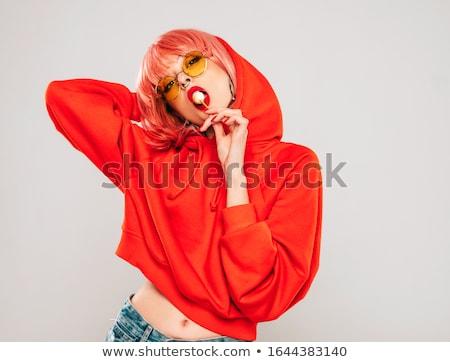 Játékos szexi nő fehérnemű tart ujj ajkak Stock fotó © dash