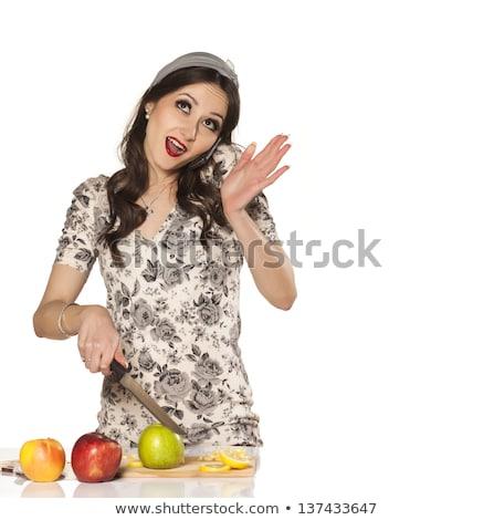 Stockfoto: Vrouw · praten · telefoons · overwerkt · mobiele · telefoon · telefoon